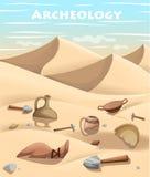 La pagina archeologica del sito Web dello scavo di concetto della paleontologia e di archeologia ed il cellulare app progettano l Fotografia Stock Libera da Diritti