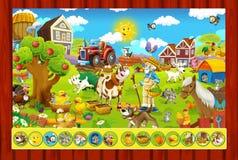 La pagina con gli esercizi per i bambini - azienda agricola - illustrazione per i bambini Immagini Stock