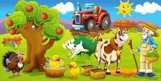 La pagina con gli esercizi per i bambini - azienda agricola - illustrazione per i bambini Immagine Stock Libera da Diritti