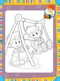 La pagina con gli esercizi per i bambini - libro da colorare - illustrazione per i bambini Immagine Stock