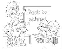 La pagina con gli esercizi per i bambini - libro da colorare - illustrazione per i bambini Immagine Stock Libera da Diritti