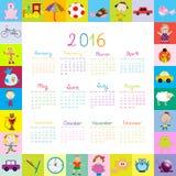 La pagina con il fumetto gioca il calendario 2016 royalty illustrazione gratis