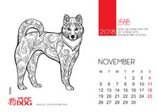 La pagina da tavolino del calendario per 2018 con l'immagine di un cane Immagini Stock Libere da Diritti