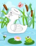 La pagina del libro da colorare per i bambini in età prescolare con fondo variopinto e lo schizzo duck per colorare royalty illustrazione gratis