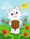 La pagina del libro da colorare per i bambini in età prescolare con fondo variopinto e lo schizzo sopportano per colorare illustrazione di stock
