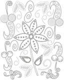 La pagina del libro da colorare per la linea creazione, cuore e fiori degli adulti di arte, si rilassa e meditazione royalty illustrazione gratis