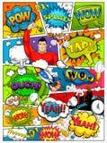 La pagina del libro di fumetti si è divisa dalle linee con effetto dei fumetti, del razzo, del supereroe e di suoni Retro modello Immagini Stock