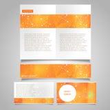 La pagina dell'opuscolo, l'insegna ed il vettore del biglietto da visita progettano i modelli con il tema molecolare astratto del Fotografia Stock