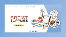 La pagina di atterraggio di web di vettore dello studio di arte che studia a scuola con la pittura dell'acquerello degli strument royalty illustrazione gratis