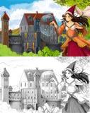 La pagina di coloritura di schizzo - fiaba di stile artistico Immagine Stock Libera da Diritti