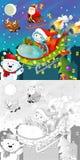 La pagina di natale di coloritura con la previsione variopinta Fotografie Stock Libere da Diritti