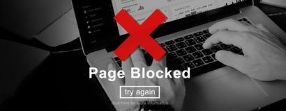 La pagina ha bloccato il concetto severo errore di problemi Fotografia Stock