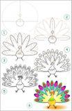 La pagina mostra come imparare per gradi disegnare un pavone royalty illustrazione gratis