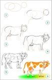 La pagina mostra come imparare per gradi disegnare una mucca illustrazione vettoriale
