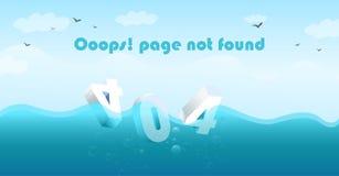 La pagina 404 non ha trovato il lavandino nel mare illustrazione di stock
