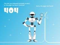 La pagina non ha trovato o un modello di 404 errori con il vettore del robot illustrazione vettoriale