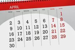 La pagina quotidiana 2018 del calendario di affari aprile Immagine Stock