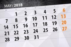 La pagina quotidiana 2018 del calendario di affari maggio Immagini Stock