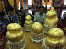 La pagoda dei cinque budas dorati (Birmania) Fotografia Stock Libera da Diritti