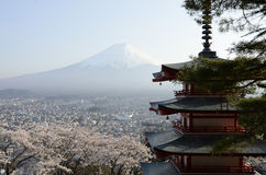 La pagoda di Chureito in cima ha colpito il punto di vista Immagine Stock Libera da Diritti