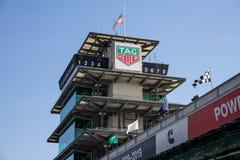 La pagoda a Indianapolis Motor Speedway L'IMS prepara per il Indy 500 VIII immagine stock libera da diritti