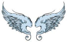 La paire d'étendre de l'oiseau ou de l'ange d'aigle s'envole illustration de vecteur