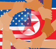 La paix coréenne du nord des Etats-Unis remet l'illustration des drapeaux 3d illustration de vecteur