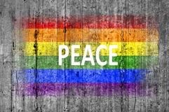 La paix et le drapeau de LGBT peint sur le fond donnent au béton une consistance rugueuse gris Photographie stock