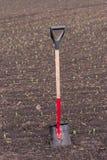 La pala se coloca en la tierra, en el campo fotos de archivo