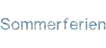 La palabra alemana Sommerferien en collage de la foto significa vacaciones de verano. Fotografía de archivo libre de regalías