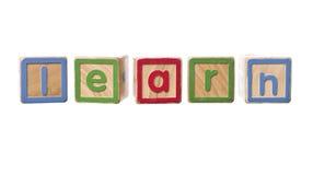 La palabra aprende construido por Play Blocks Foto de archivo libre de regalías
