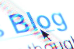 La palabra ?blog? como enlace hipertexto Imagenes de archivo