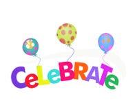 La palabra celebra con la ilustración de los globos Fotografía de archivo