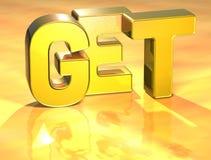 la palabra 3D consigue en fondo del oro ilustración del vector
