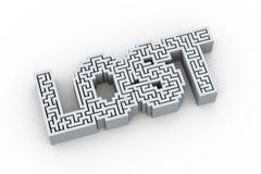 la palabra 3d perdió en diseño del rompecabezas del laberinto del laberinto Imagen de archivo
