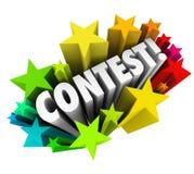 La palabra de la competencia protagoniza los fuegos artificiales que excitan noticias del dibujo de la rifa Foto de archivo libre de regalías