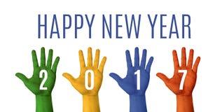 La palabra de la Feliz Año Nuevo 2017 con la mano colorida aumenta para arriba en los vagos blancos Fotografía de archivo libre de regalías