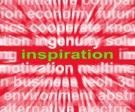 La palabra de la inspiración muestra nuevas y originales ideas Foto de archivo libre de regalías