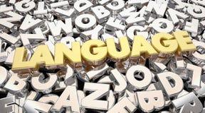 La palabra de la lengua pone letras a la comunicación para compartir ideas Imagenes de archivo