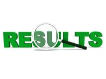 La palabra de los resultados muestra resultado o el logro de la cuenta Foto de archivo