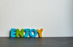 La palabra de madera colorida goza con background1 blanco Imagen de archivo