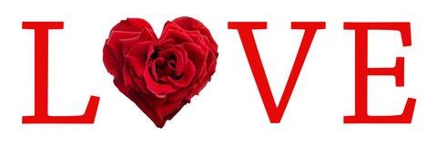 La palabra del amor con un en forma de corazón se levantó fotografía de archivo