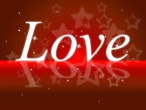 La palabra del amor representa el corazón y la dulzura de la dedicación stock de ilustración