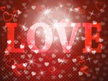 La palabra del amor significa a los amantes cariño y dedicación stock de ilustración