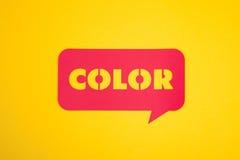 La palabra del color en la muestra del texto Foto de archivo