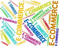 La palabra del comercio electrónico representa negocio y los negocios en línea Fotografía de archivo