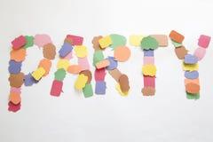 La palabra del partido Imagen de archivo libre de regalías