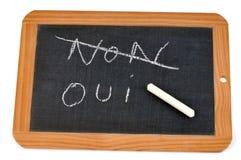 La palabra en francés cruzó no hacia fuera en una pizarra de la escuela para salir del sitio para la palabra sí stock de ilustración