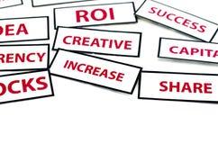 La palabra IDEA, ROI, MONEDA, CREATIVO de la motivación del negocio, ACCIÓN y AUMENTO imprimió en el papel Fotos de archivo