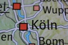 La palabra KÃ-LN en el mapa imagen de archivo libre de regalías
